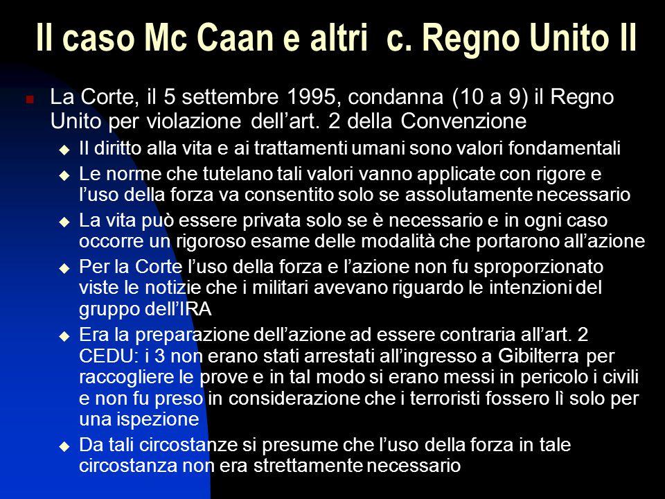Il caso Mc Caan e altri c. Regno Unito II