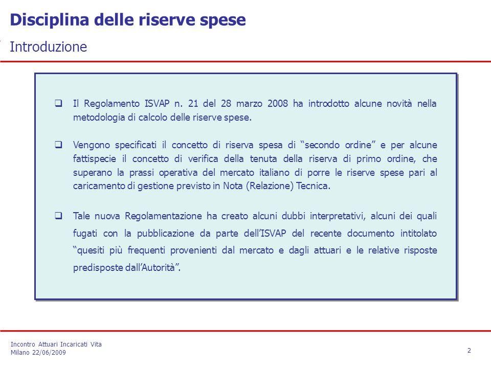 Disciplina delle riserve spese Introduzione