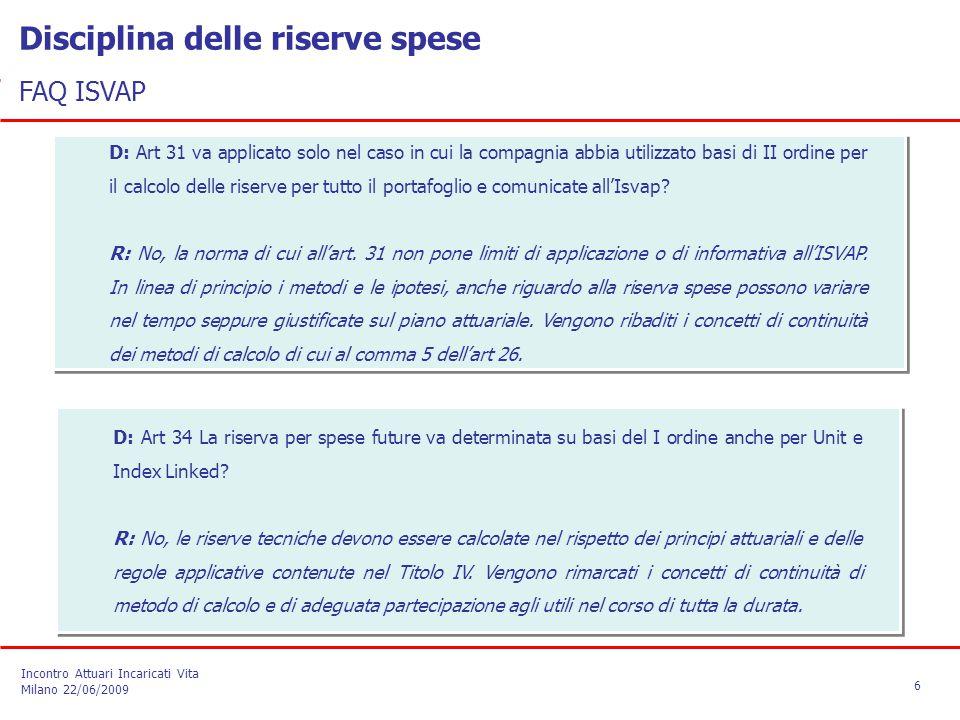 Disciplina delle riserve spese FAQ ISVAP