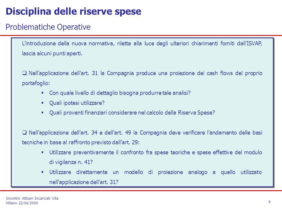 Disciplina delle riserve spese Problematiche Operative