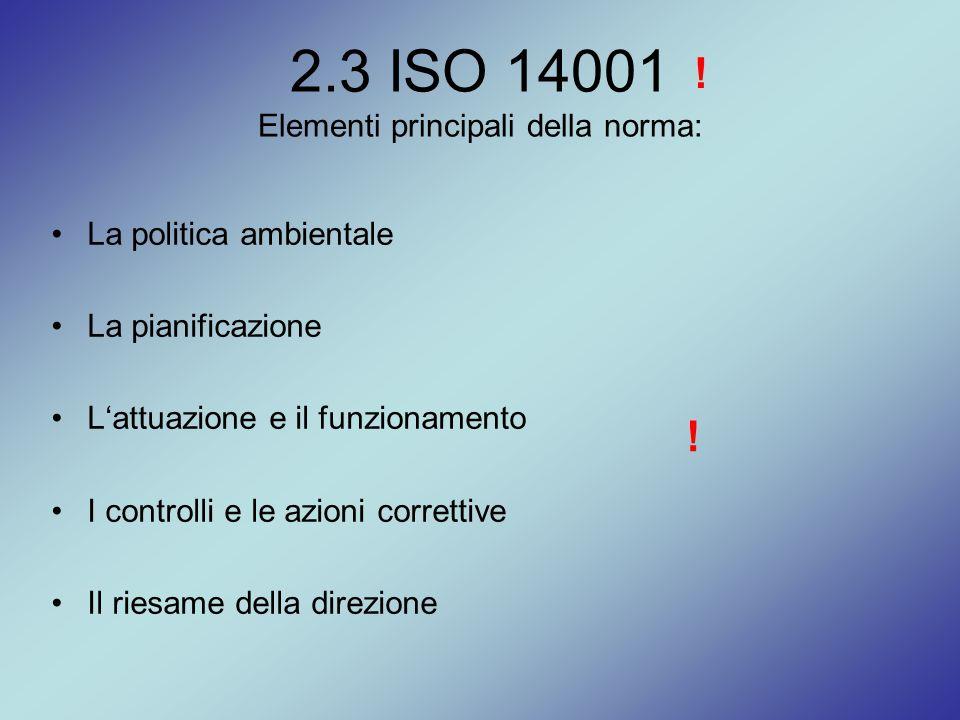 2.3 ISO 14001 Elementi principali della norma: