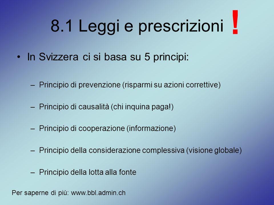 ! 8.1 Leggi e prescrizioni In Svizzera ci si basa su 5 principi: