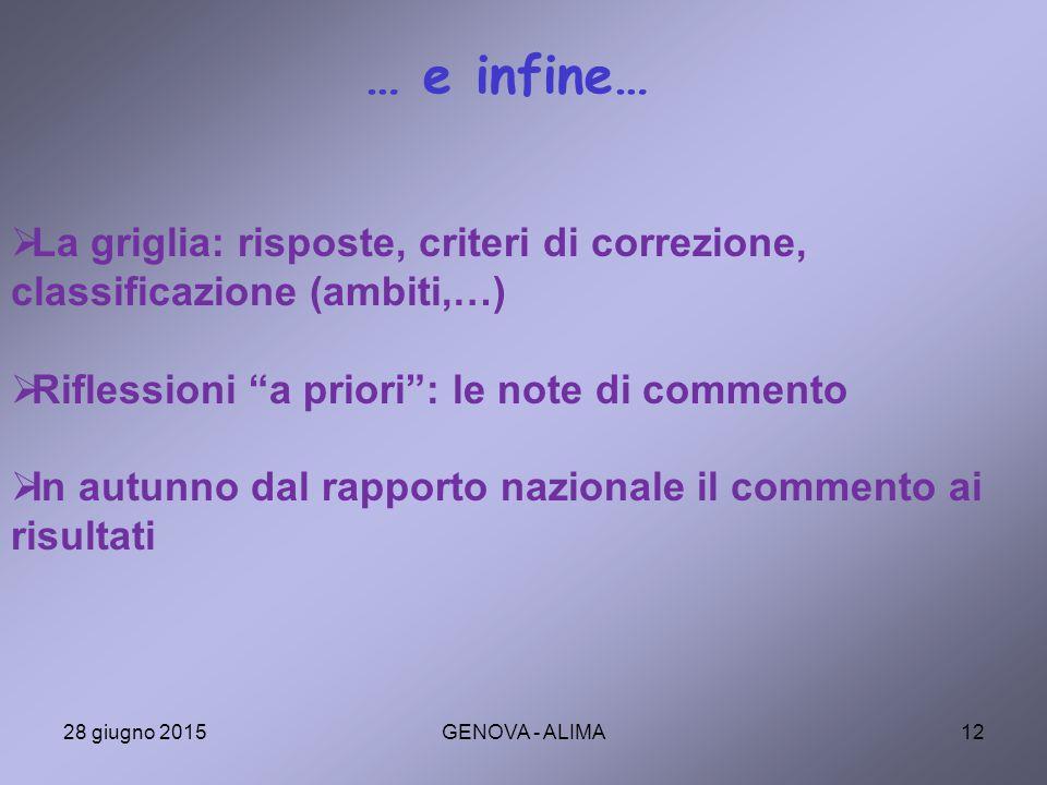 … e infine… La griglia: risposte, criteri di correzione, classificazione (ambiti,…) Riflessioni a priori : le note di commento.
