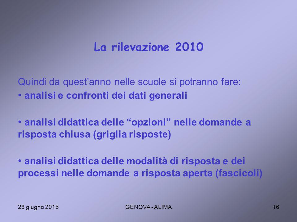 La rilevazione 2010 Quindi da quest'anno nelle scuole si potranno fare: analisi e confronti dei dati generali.