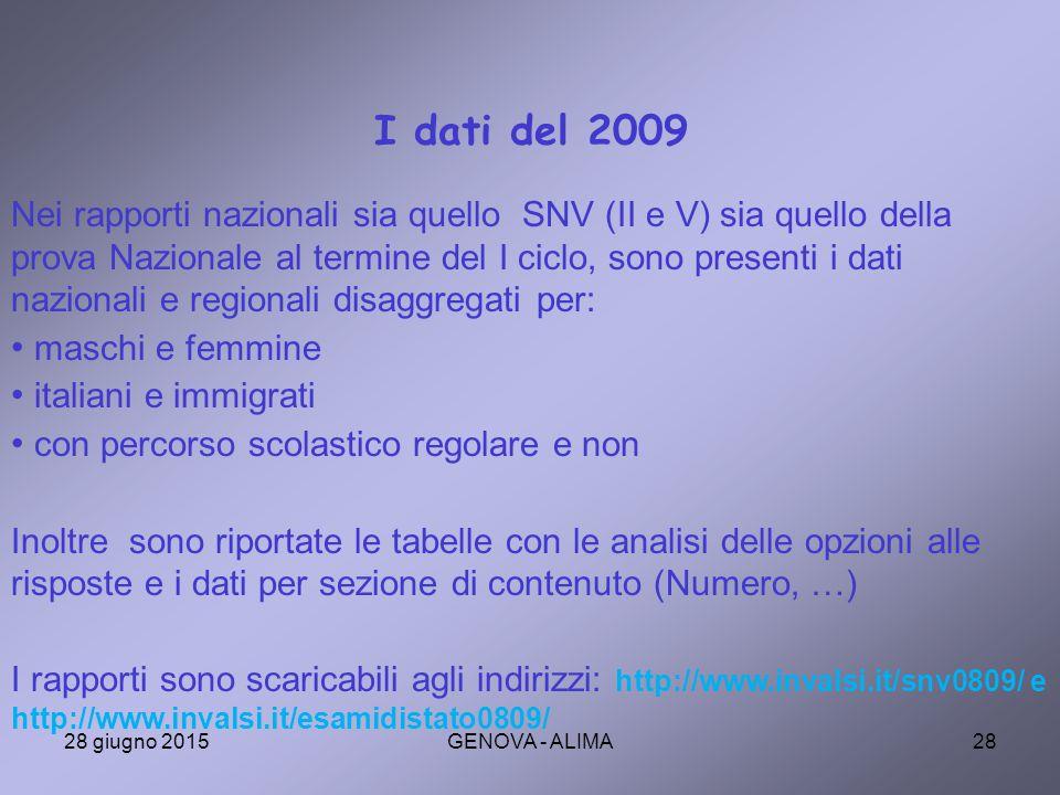 I dati del 2009
