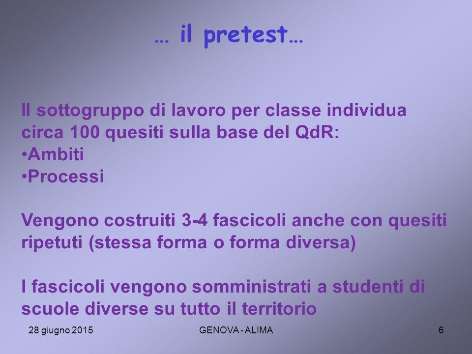… il pretest… Il sottogruppo di lavoro per classe individua circa 100 quesiti sulla base del QdR: Ambiti.