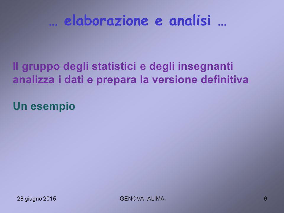 … elaborazione e analisi …