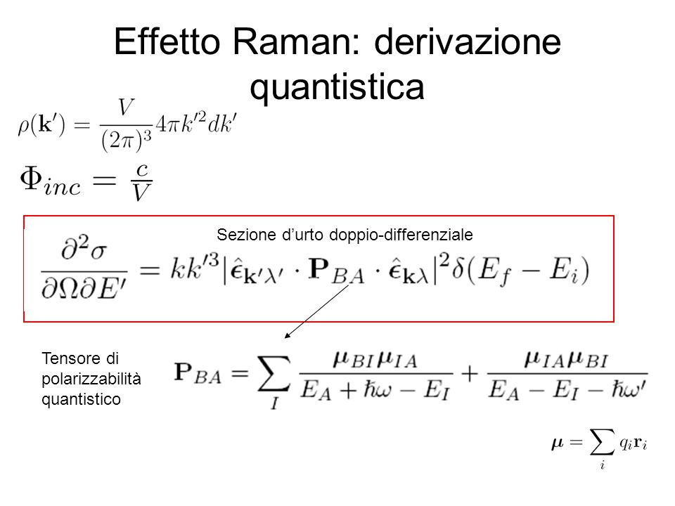 Effetto Raman: derivazione quantistica
