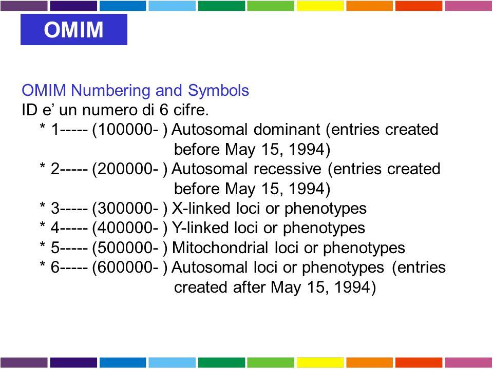 OMIM OMIM Numbering and Symbols ID e' un numero di 6 cifre.