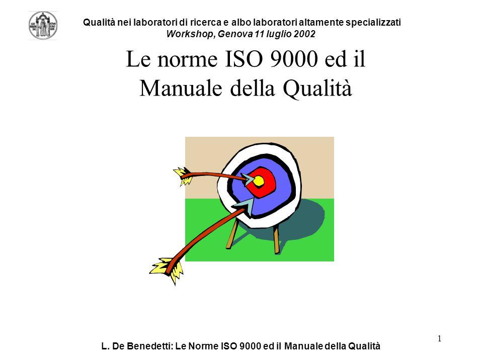 Le norme ISO 9000 ed il Manuale della Qualità