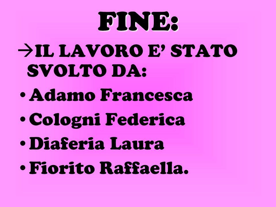 FINE: IL LAVORO E' STATO SVOLTO DA: Adamo Francesca Cologni Federica