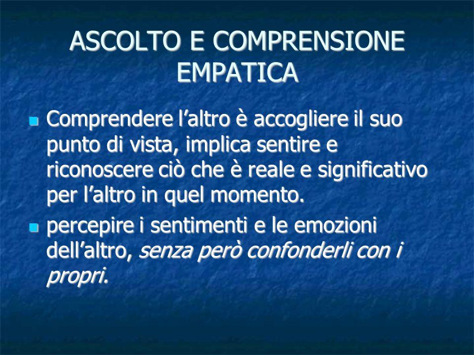 ASCOLTO E COMPRENSIONE EMPATICA
