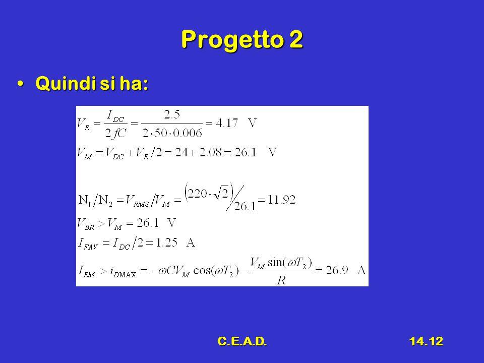 Progetto 2 Quindi si ha: C.E.A.D.