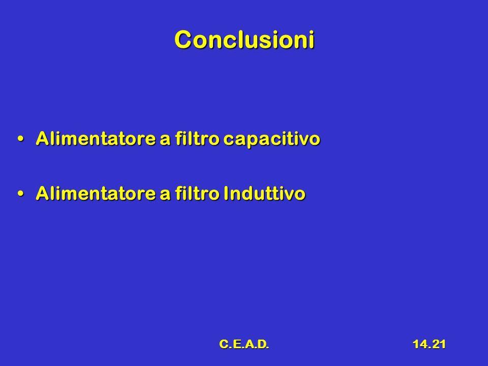 Conclusioni Alimentatore a filtro capacitivo