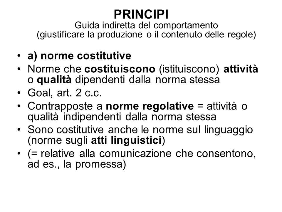 PRINCIPI Guida indiretta del comportamento (giustificare la produzione o il contenuto delle regole)