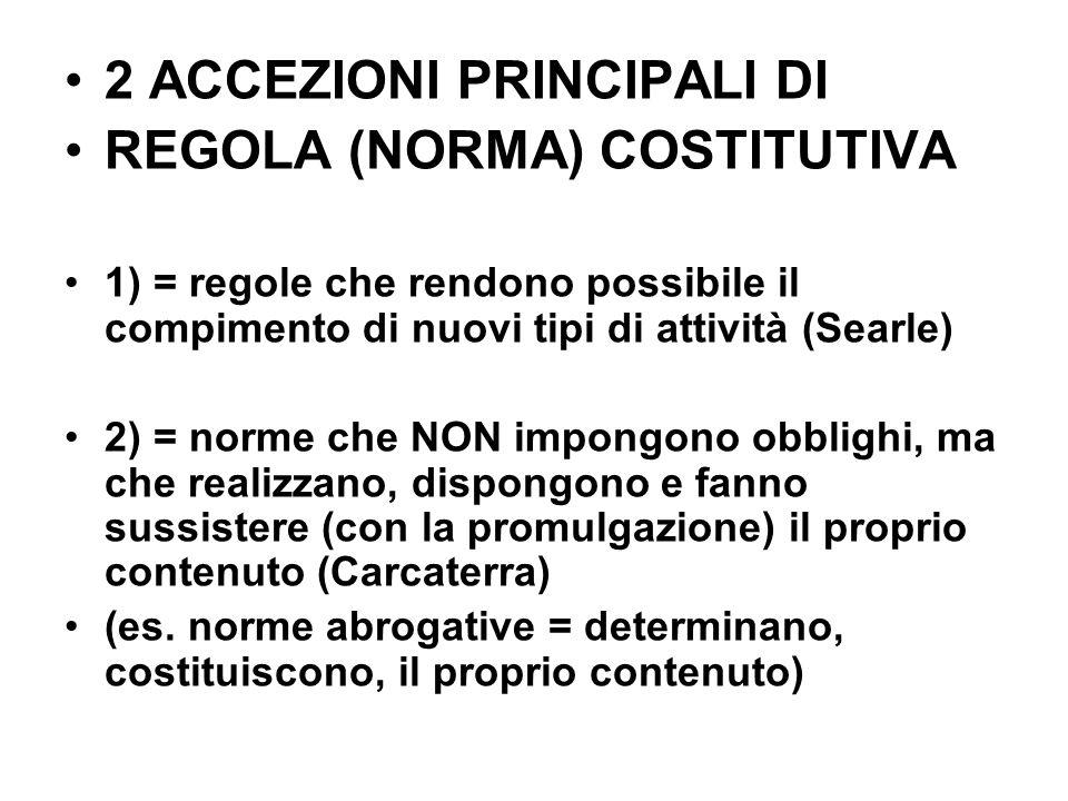 2 ACCEZIONI PRINCIPALI DI REGOLA (NORMA) COSTITUTIVA
