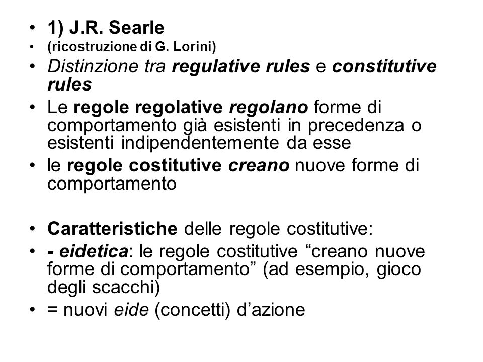 Distinzione tra regulative rules e constitutive rules