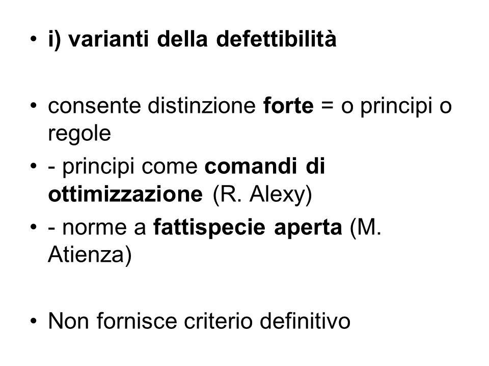 i) varianti della defettibilità