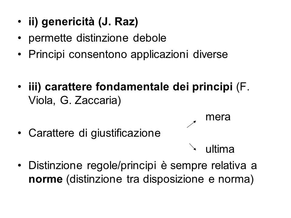 ii) genericità (J. Raz) permette distinzione debole. Principi consentono applicazioni diverse.