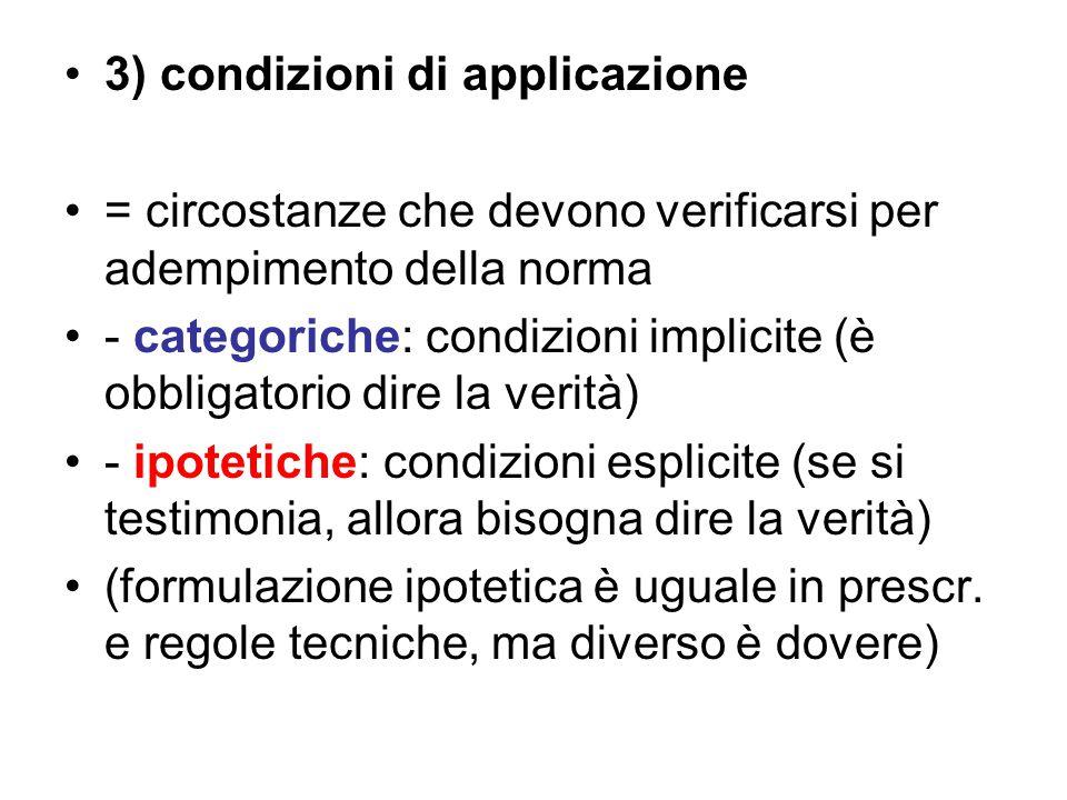 3) condizioni di applicazione