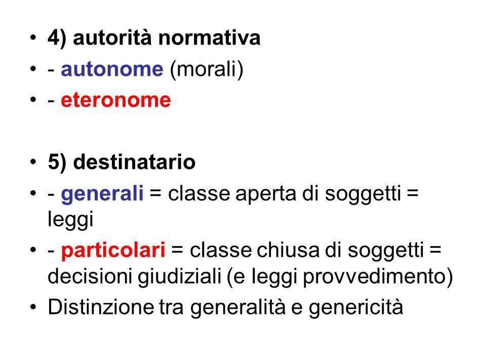 4) autorità normativa - autonome (morali) - eteronome. 5) destinatario. - generali = classe aperta di soggetti = leggi.