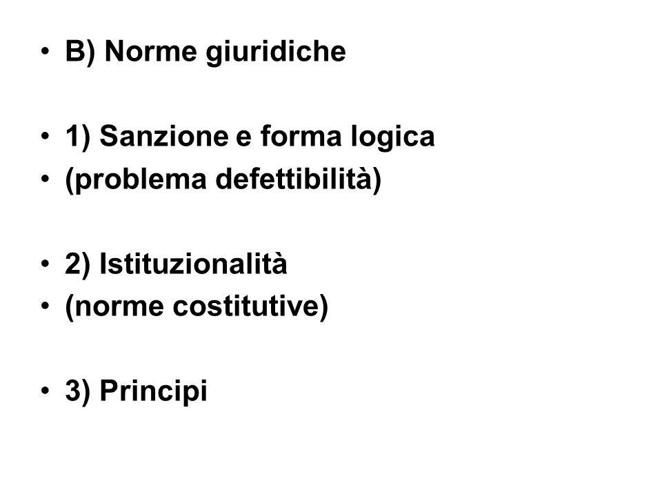 B) Norme giuridiche 1) Sanzione e forma logica. (problema defettibilità) 2) Istituzionalità. (norme costitutive)