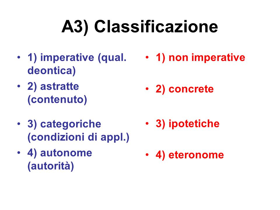 A3) Classificazione 1) imperative (qual. deontica)