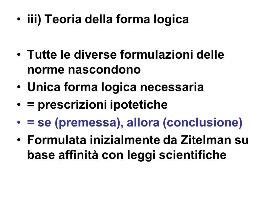 iii) Teoria della forma logica