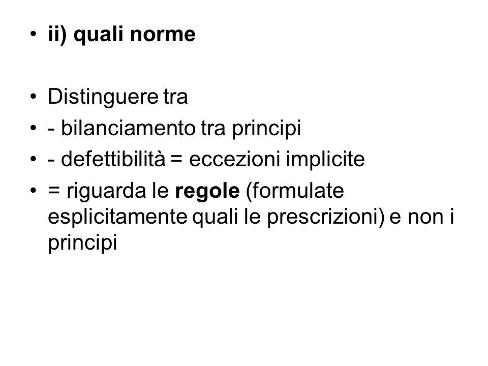 ii) quali norme Distinguere tra. - bilanciamento tra principi. - defettibilità = eccezioni implicite.