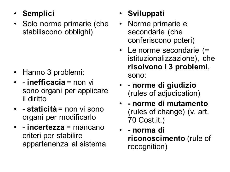 Semplici Solo norme primarie (che stabiliscono obblighi) Hanno 3 problemi: - inefficacia = non vi sono organi per applicare il diritto.