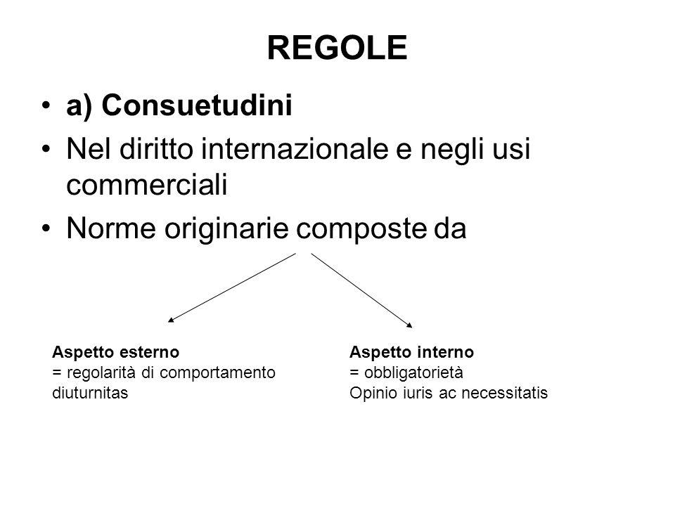 REGOLE a) Consuetudini
