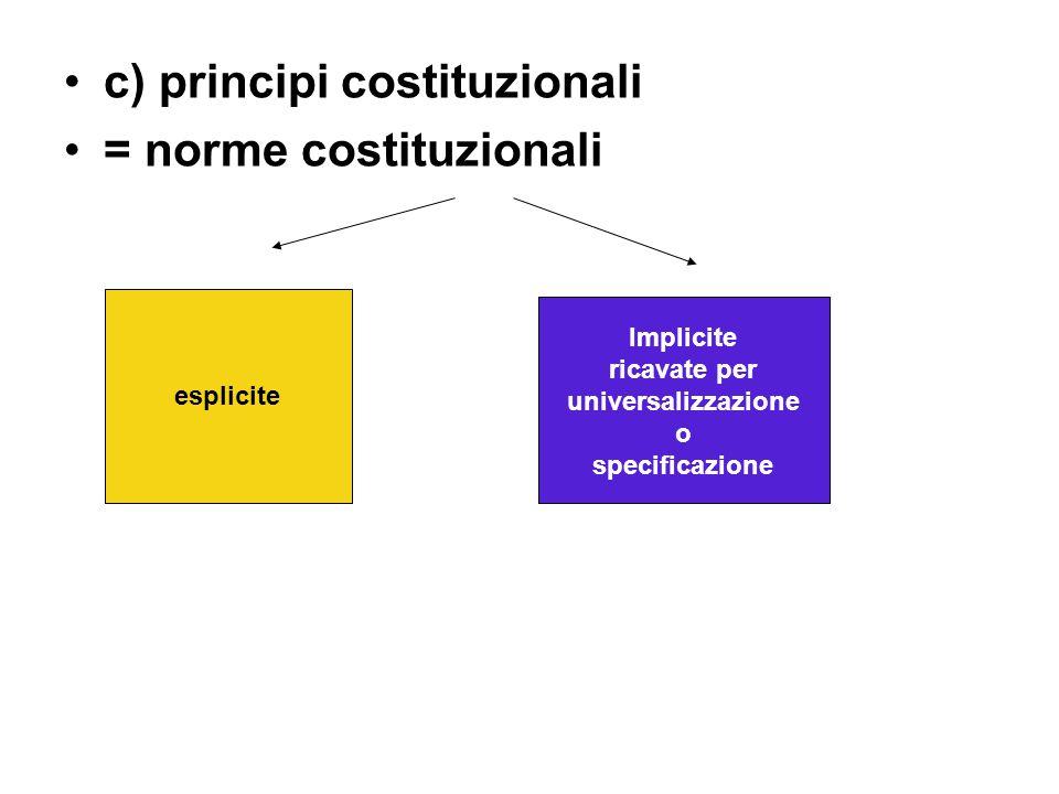 c) principi costituzionali = norme costituzionali