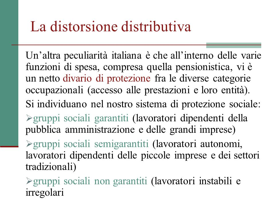 La distorsione distributiva