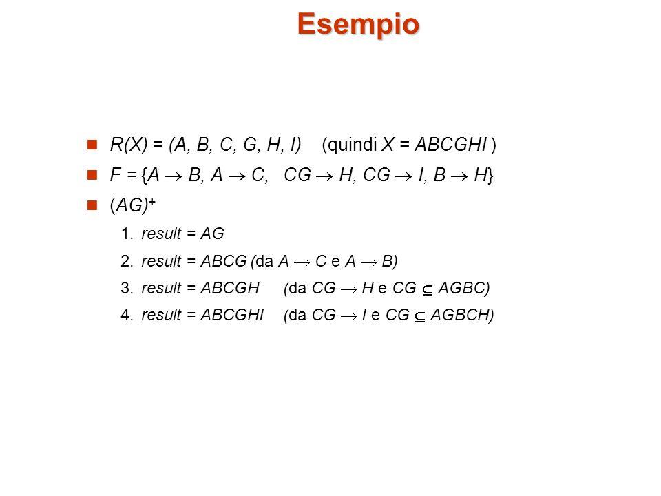 Esempio R(X) = (A, B, C, G, H, I) (quindi X = ABCGHI )