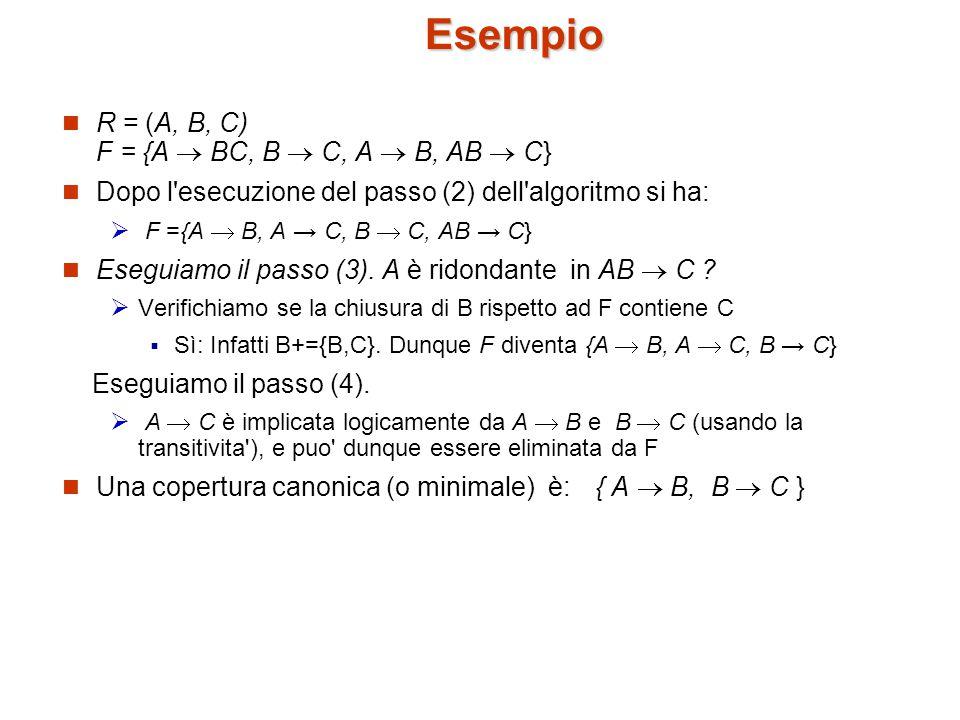 Esempio R = (A, B, C) F = {A  BC, B  C, A  B, AB  C}