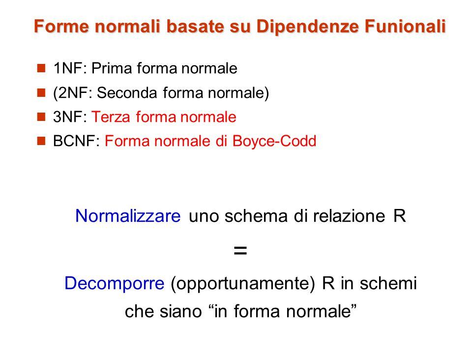 Forme normali basate su Dipendenze Funionali