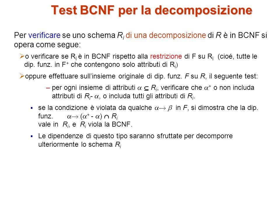 Test BCNF per la decomposizione