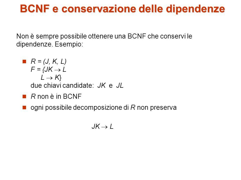 BCNF e conservazione delle dipendenze