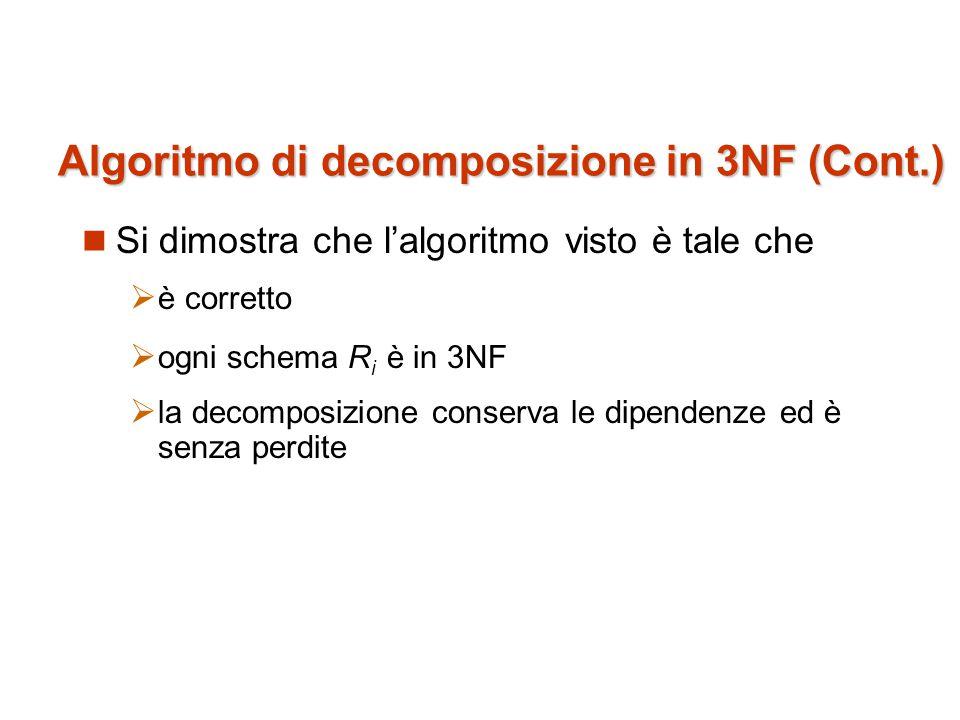 Algoritmo di decomposizione in 3NF (Cont.)