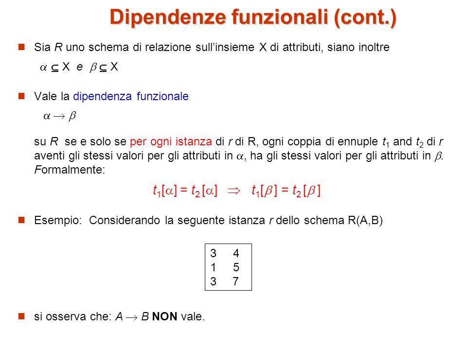 Dipendenze funzionali (cont.)