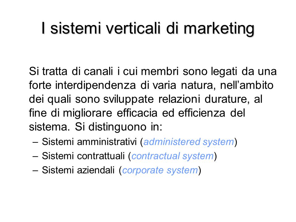 I sistemi verticali di marketing