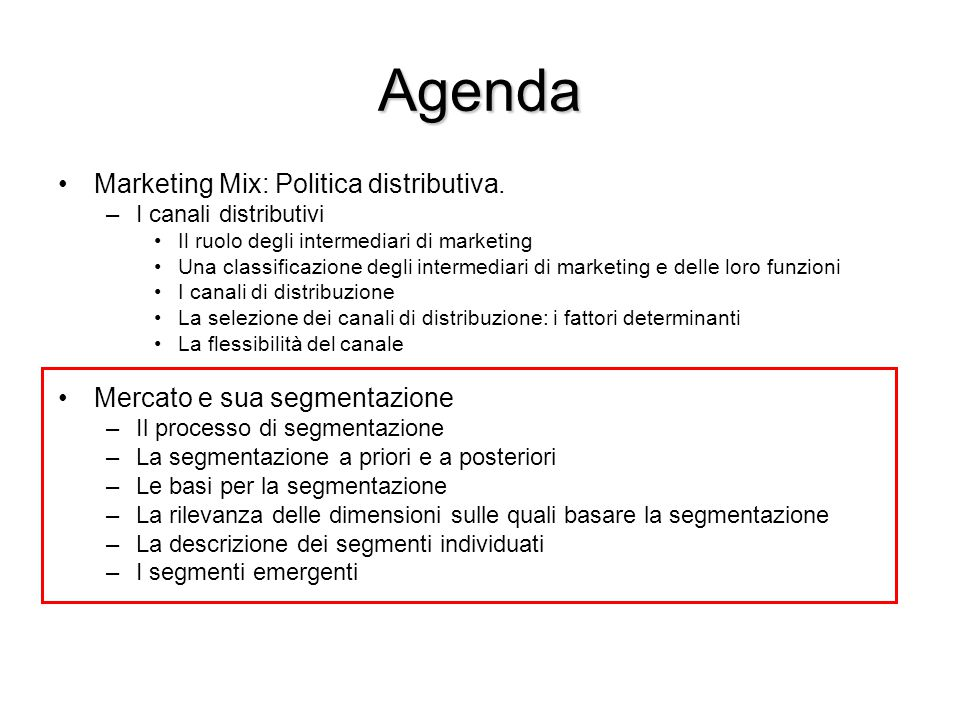 Agenda Marketing Mix: Politica distributiva.