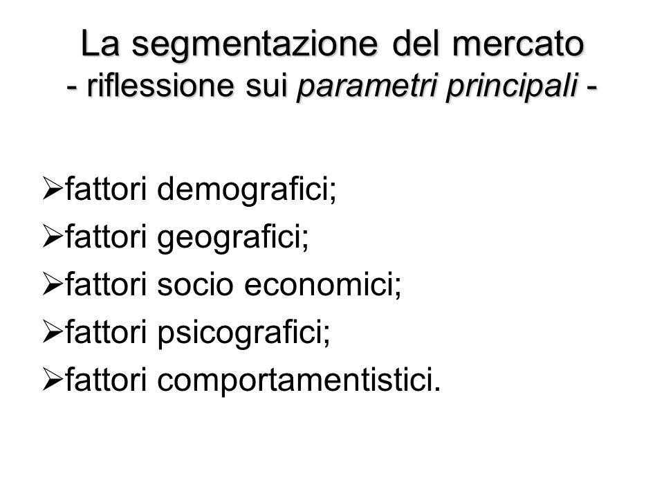 La segmentazione del mercato - riflessione sui parametri principali -