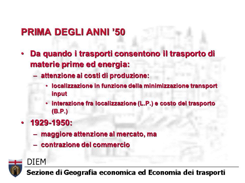 PRIMA DEGLI ANNI '50 Da quando i trasporti consentono il trasporto di materie prime ed energia: attenzione ai costi di produzione: