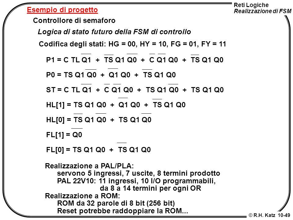 Esempio di progetto Controllore di semaforo. Logica di stato futuro della FSM di controllo.