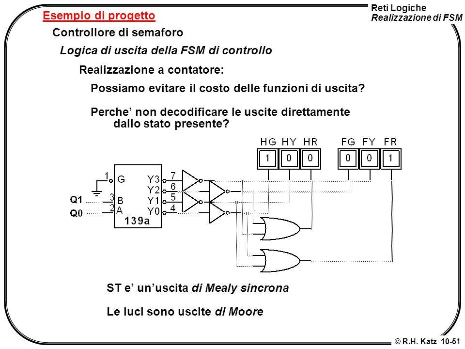 Esempio di progetto Controllore di semaforo. Logica di uscita della FSM di controllo. Realizzazione a contatore: