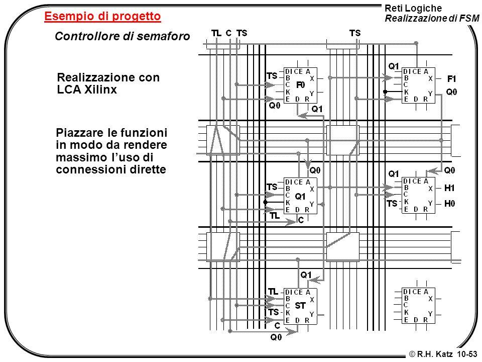 Esempio di progetto Controllore di semaforo. Realizzazione con. LCA Xilinx. Piazzare le funzioni.