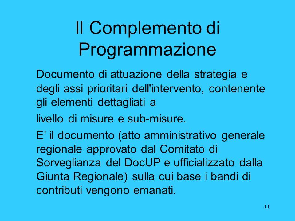Il Complemento di Programmazione