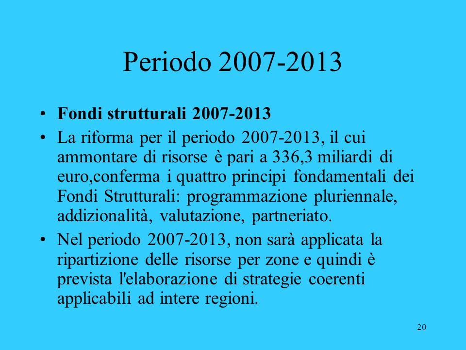 Periodo 2007-2013 Fondi strutturali 2007-2013