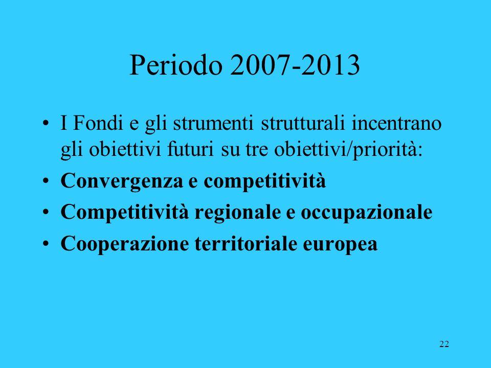 Periodo 2007-2013 I Fondi e gli strumenti strutturali incentrano gli obiettivi futuri su tre obiettivi/priorità: